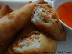 Filipino Recipe Shrimp and Pork Spring Roll with Noodles
