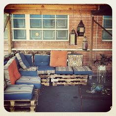 Our new outdoor lounge is our favorite place to relax and eat lunch #diy - @mimi ヾ(^∇^)- #webstagram