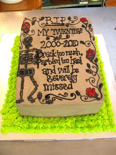 Tombstone shaped cake decorated with piped wording, roses Cake Decorating Courses, Novelty Cakes, Cake Ideas, Halloween Party, Cake Recipes, Roses, Party Ideas, Shapes, Birthday