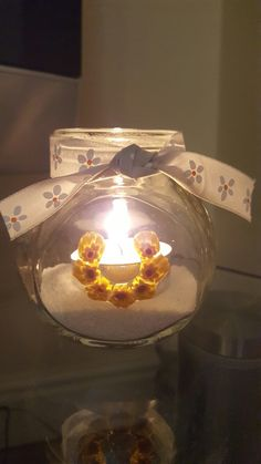 Tealight holder, handmade by Melt, Glass by Jane