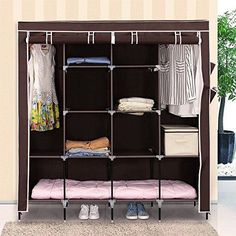 Clothes-Closet-Portable-Wardrobe-Storage-Rack-12-Shelves-4-Side-67-034-Dark-Brown