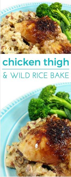 Easy Chicken Thigh & Wild Rice Bake takes 5 minutes to make & bakes unattended for several hours. The chicken & rice are moist and flavorful. Comfort food!
