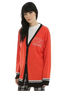 <p>Maybe you will never have a varsity jacket, but we know you'd rather have a varsity sweater from Twenty One Pilots to show you are part of the Skeleton Clique. Red knit cardigan with an embroidered Twenty One Pilots logo on front, black and white striped sleeves and an embroidered TOP logo on the right hip. </p>  <ul> 	<li>71% rayon; 29% polyester</li> 	<li>Wash cold; dry low</li> 	<li>Imported</li> 	<li>Listed in junior sizes</li> </ul>
