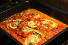 Portuguese-Style Baked Fish from Food.com:   My mom makes this and its also very common in the Portuguese restaurants of SE New England. This is fantastic with spaghetti and even better with roasted potatoes.