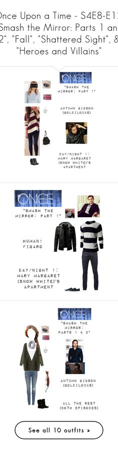 """Once Upon a Time - S4E8-E12: ""Smash the Mirror: Parts 1 and 2"", ""Fall"", ""Shattered Sight"", & ""Heroes and Villains"""" by nerdbucket ❤ liked on Polyvore featuring ouat, Blue Nile, Fergalicious, Nudie Jeans Co., Uniqlo, men's fashion, menswear, rag & bone, ALDO and Pieces"