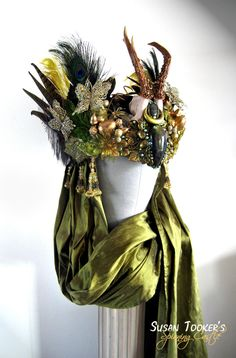 SOLD Antler Headdress Ritual Crown Nature by SpinningCastle, $860.00