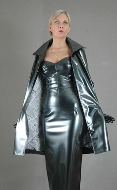 Amazing latex coat and long dress combo