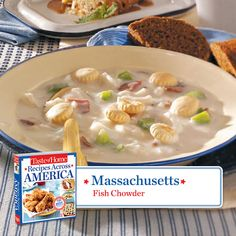 50 States in 50 Days:  Massachusetts:: Fish Chowder from Taste of Home    Find regional Northeastern recipes like this one and more in our new cookbook, Recipes Across America---->  http://www.tasteofhome.com/rd.asp?id=22997