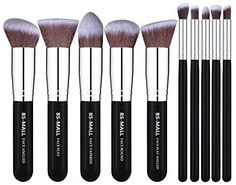 BS-MALL Makeup Brush Kit Premium Brushes Set Synthetic Soft and Silky 10 Pieces  #BSMALL