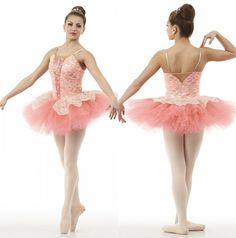 Dance Costume Dream Fulfilled Ballet Ballerina Tutu Salmon Gold Lace Adult/Child #Cicci