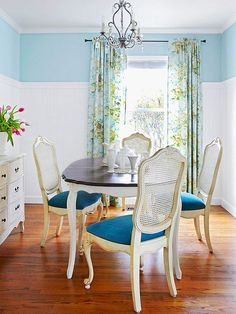 Dress up a small dining room with an interesting wall treatment, such as board and batten or wainscoting: http://www.bhg.com/rooms/dining-room/themes/small-space-dining-room-decorating-ideas/?socsrc=bhgpin051114twotonedesign&page=3