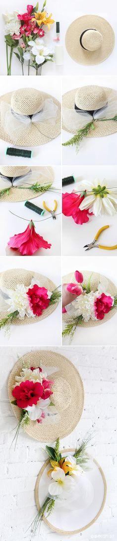 DIY Flower Derby Hat. Find high-quality silk flowers at Afloral.com for your Derby Day Hat
