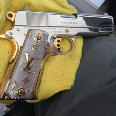 Colt commander, To much bling. Colt M1911, M1911 Pistol, Revolvers, Swagg Girl, Love Gun, Custom Guns, Custom Glock, Louis Vuitton, Cool Guns