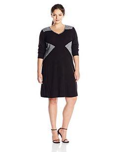 Calvin Klein Women's Plus-Size Long Sleeve Blocked V Neck Dress, Black, 3X Calvin Klein http://www.amazon.com/dp/B010GVD4M8/ref=cm_sw_r_pi_dp_nQ5Vwb074X3H8