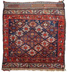 Maison d'enchères en ligne Catawiki: Hand made antique collectible Persian Khamseh bag face 1.10' x 2' ( 57cm x 61cm ) 1880s