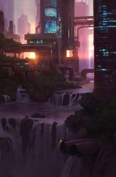 ArtStation - nascer do sol, Roman Semenenko Cyberpunk City, Futuristic City, Futuristic Architecture, Cyberpunk Aesthetic, Fantasy Art Landscapes, Fantasy Landscape, Fantasy City, Fantasy World, Sci Fi City