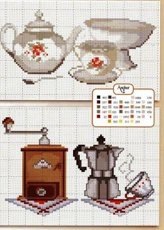 coffee and tea Cross Stitch Pattern Counted Cross Stitch Patterns, Cross Stitch Charts, Cross Stitch Designs, Cross Stitch Embroidery, Embroidery Patterns, Hand Embroidery, Loom Patterns, Cross Stitch Kitchen, Christmas Cross