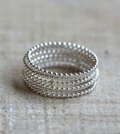Beaded Wire Silver Stacking Rings