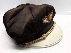Vintage Motorcycle Parts, Visors, Riding Helmets, Harley Davidson, 1950s, Captain Hat, Hats, How To Wear, Black
