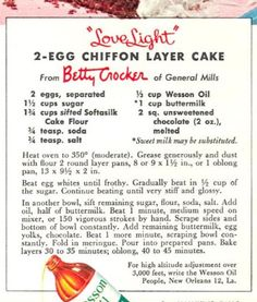 Robin Hood Chiffon Cake Recipe