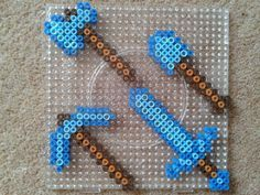 minecraft perler beads diamond axe, shovel, pickax and sword