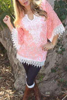 COWGIRL GYPSY TUNIC TOP Coral Lace White Crochet Trim Mini Dress Tunic Top Beach Coverup