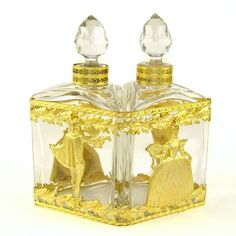 Antique French Gilt Bronze Double Scent Caddy Cut Crystal Perfume Scent Bottles