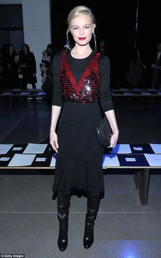 Classy: Kate Bosworth has been another fixture at Fashion Week and showed off her model figure again on Saturday night in an elegant ensemble