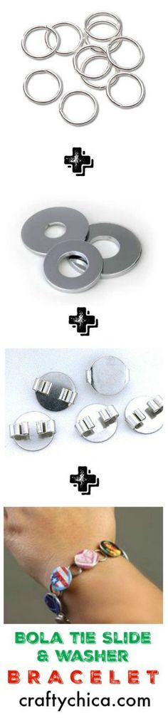 Washers, bola tie slides and jump rings add up to one cool picture bracelet! Here's how to make it!