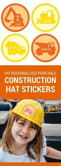 Personalized printable construction hat stickers for a modern and classy constru. - Personalized printable construction hat stickers for a modern and classy construction birthday part - Construction Hat, Construction Birthday Parties, 3rd Birthday Parties, Birthday Party Favors, 2nd Birthday, Birthday Ideas, Construction Party Games, Mermaid Birthday, Happy Birthday Printable