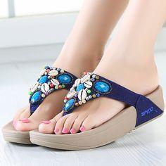 e3faa5ca6 Fashion Newest Rhinestone Shell Beading Women s Beach Flip Flops Bohemian  Sandals Slipper Platform Wedge Flip Flops