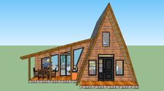 Here you can see a very interesting and radical solution in alpine style. On the lower level are cusine dining room, liv A Frame House Plans, Cabin House Plans, A Frame Cabin, Tiny House Cabin, Log Cabin Homes, Small House Plans, Cabins, Best Modern House Design, Tiny House Design