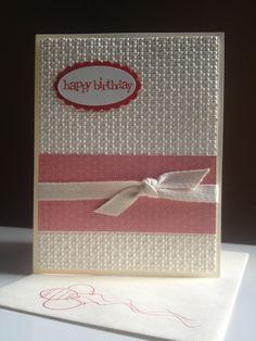 "birthday - Square Lattice textured impressions (very vanilla base &4x5-1/4""; poppy parade; designer series paper 1-3/4x4"")- stampin up card"
