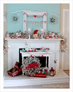 Vintage Cottage Christmas Mantel