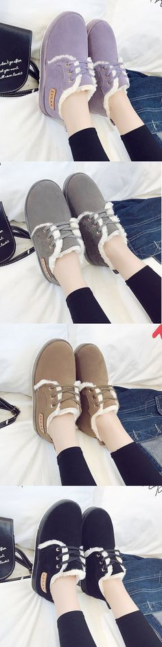 US$19.69 Snow Winter Warm Lace Up Casual Shoes For Women