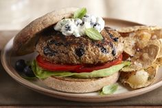 Driscoll's Blueberry Turkey Burgers with Lemon-Basil Mayonnaise www.driscolls.com