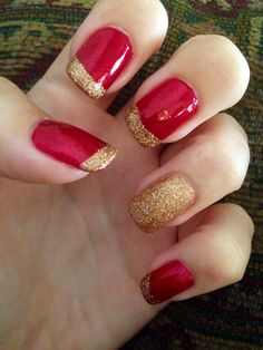 Red and gold nails! Perfect for fall.