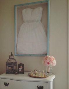 Wedding dress in shadow box