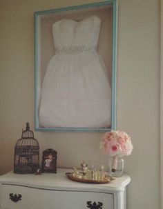 Wedding dress in shadow box