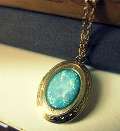 Turquoise Locket Necklace Blue Fire Opal Gold Locket Statement Vintage Inspired Glamorous Antique Style Locket Bridesmaids Gift Wedding