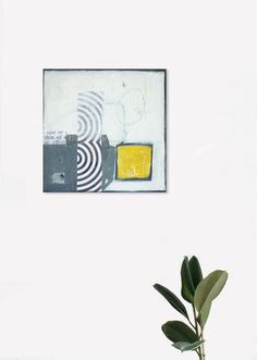 "Original Abstract Painting 11,8 in x 11,8 in + collage ""LEO"" de la boutique toupan9 sur Etsy"
