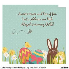Cute Bunny and Easter Eggs 1st Birthday Invitation