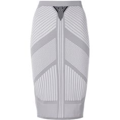 Prada bandage knitted pencil skirt (€490) ❤ liked on Polyvore featuring skirts, grey, stretch pencil skirt, grey pencil skirt, high waist knee length pencil skirt, knee length skirts and high waisted bandage skirt