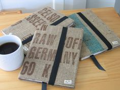 Journal covers from recycled burlap coffee sacks