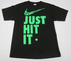 Just Hit It T-Shirt Classic Swoosh Parody Weed 420 Adult Humor Mens S-3Xl Black