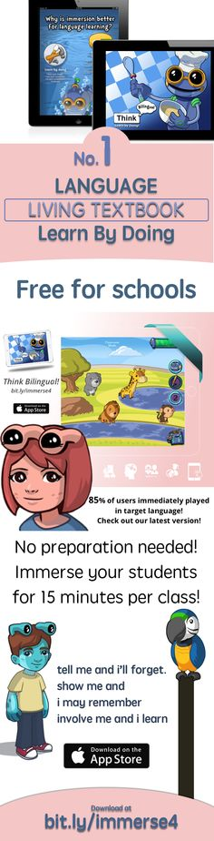 Learn Spanish, French, English using the first ever Immersion app Free download https://itunes.apple.com/us/app/apple-store/id984967146?pt=1948807&ct=think4&mt=8