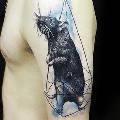 Geometric Watercolor Male Rat Arm Tattoos