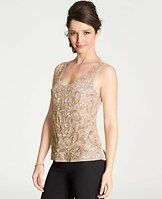 Beaded Scroll Sequin Tank - Bedazzled with beaded scrolls and sequin, this impeccable tank always makes a shine-worthy entrance. Scoop neck. Sleeveless. Hidden side zipper. Solid back. Lined.         Items in our Weddings & Events Collection can only be exchanged or returned by mail.