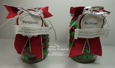 Inking Idaho: Mason Jar Money From Santa Cash rolled up inside wrapped in paper, then surround with M&M's 3d Christmas, Holiday Gift Tags, Christmas Crafts For Gifts, Stampin Up Christmas, Craft Gifts, Christmas Cards, Christmas Ideas, Holiday Ideas, Money Bouquet