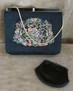 Black silk embroidered evening bag clutch purse vintage women petit point floral #unknown #EveningBag